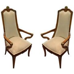 Pair of Italian Ormolu Mounted Neoclassical Beech Armchairs, Early 20th Century