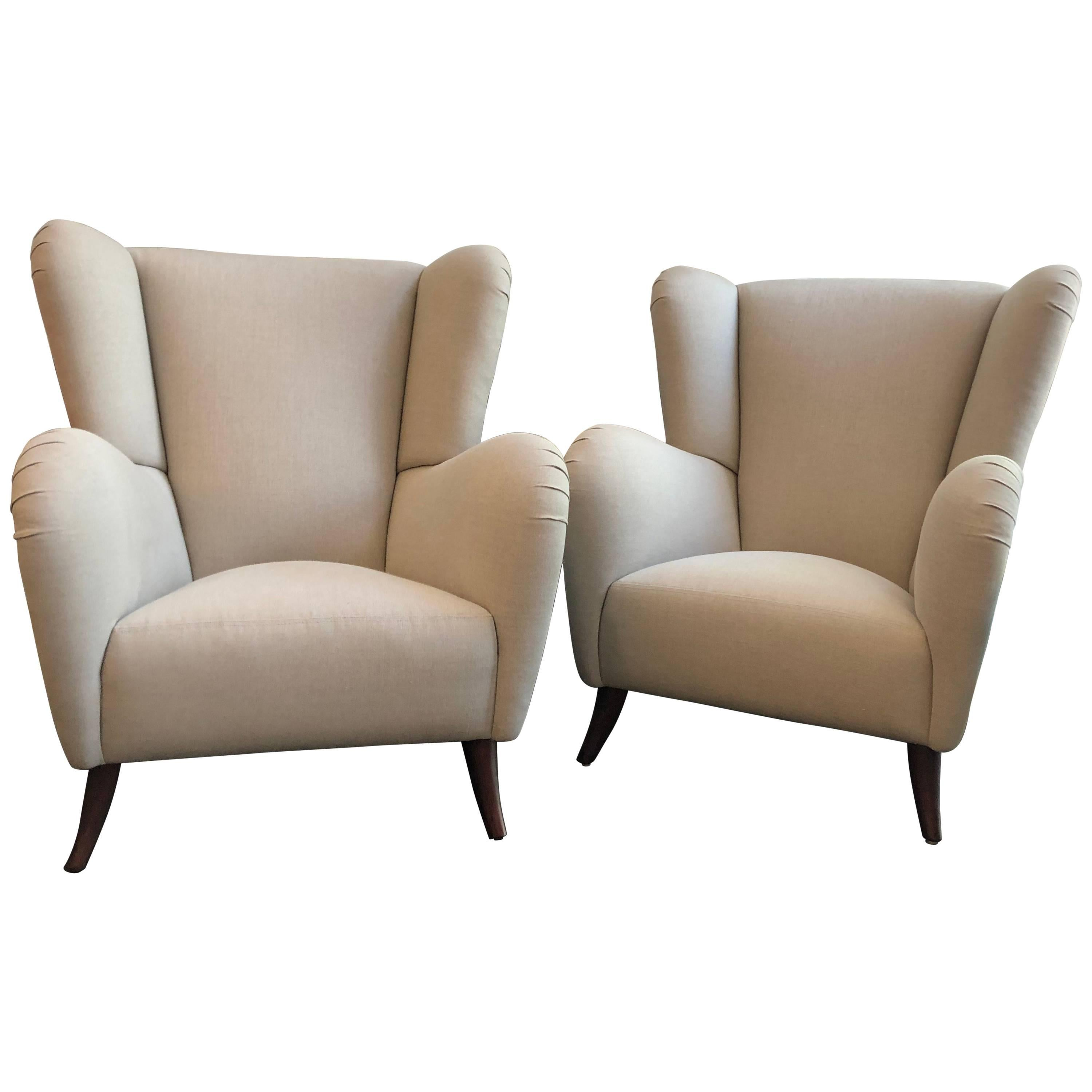 Pair of Italian Overscaled Armchairs