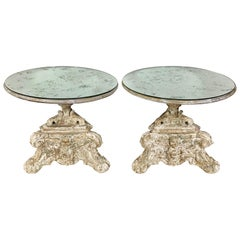 Pair of Italian Painted 1930s Side Tables with Mirrored Tops