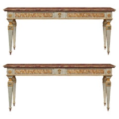 Pair of Italian Painted 19th Century Free Standing Consoles