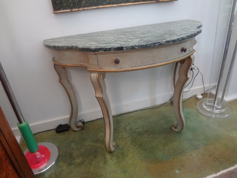 Neoclassical Pair of Italian Painted and Giltwood Freestanding Console Tables For Sale