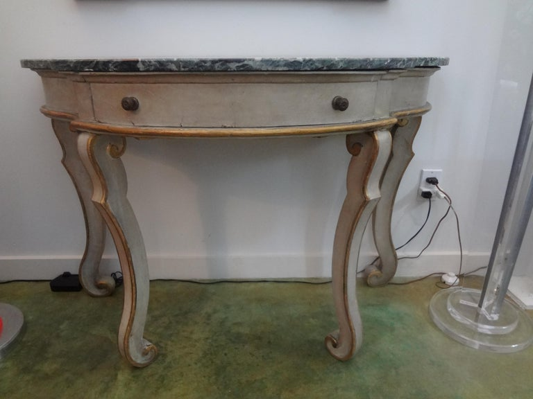 Marble Pair of Italian Painted and Giltwood Freestanding Console Tables For Sale
