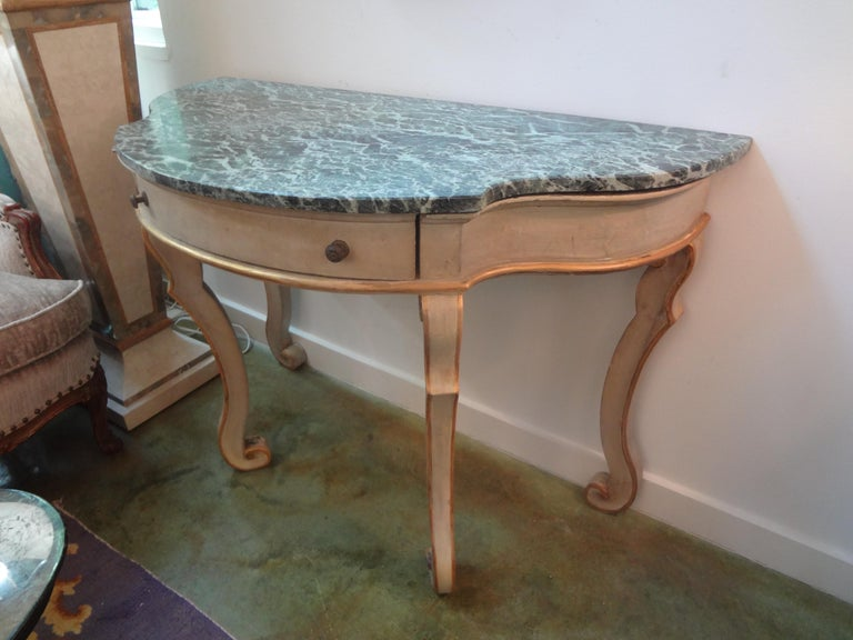 Pair of Italian Painted and Giltwood Freestanding Console Tables For Sale 2