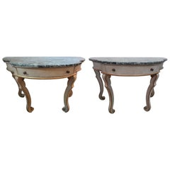 Pair of Italian Painted and Giltwood Console Tables
