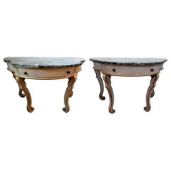 Pair of Italian Painted and Giltwood Freestanding Console Tables