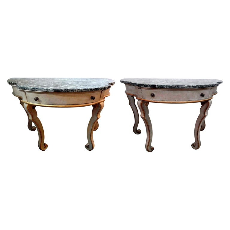 Pair of Italian Painted and Giltwood Freestanding Console Tables For Sale