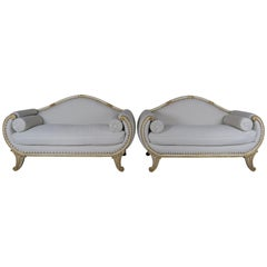 Pair of Italian Painted and Parcel Gilt Settees, circa 1900s