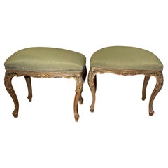 Pair of Italian Painted and Parcel Gilt Stools