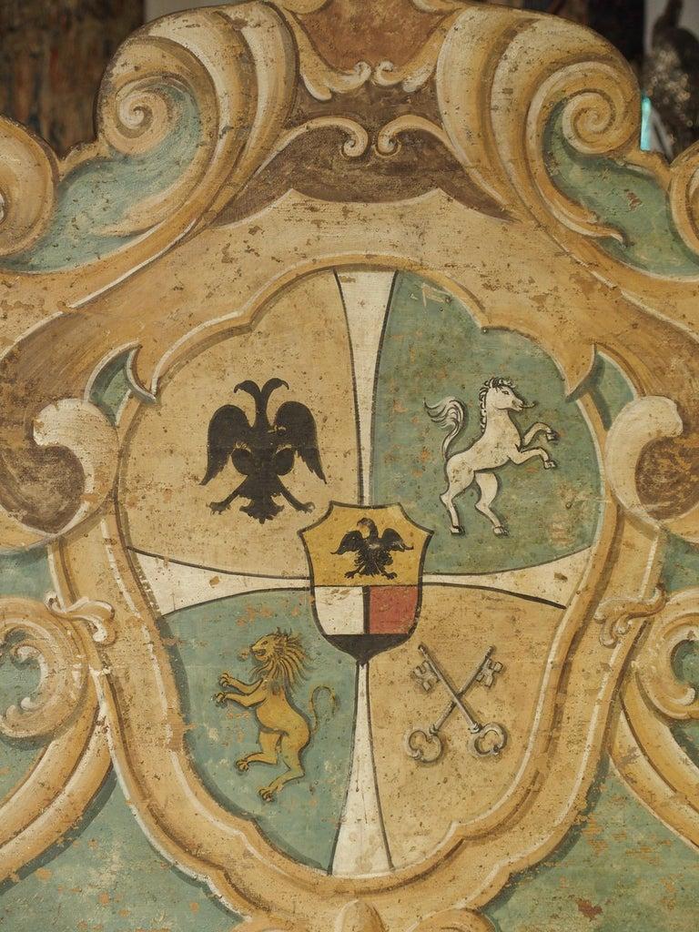 Pair of Italian Painted Armorial Cassapanca For Sale 7