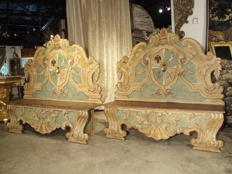 Pair of Italian Painted Armorial Cassapanca For Sale 15