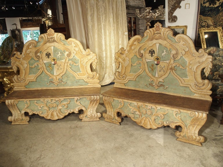 Pair of Italian Painted Armorial Cassapanca For Sale 16