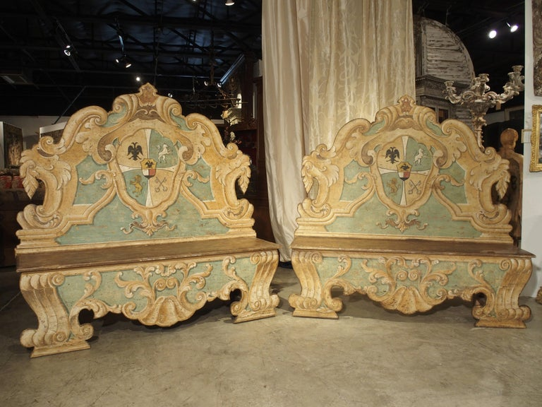 Popular during the late middle ages, the Italian Cassapanca emerged from a combination of the cassone (a low chest with lid) and a panca (bench with a back). They were lavishly painted by artists, covering the entire surface in depictions of