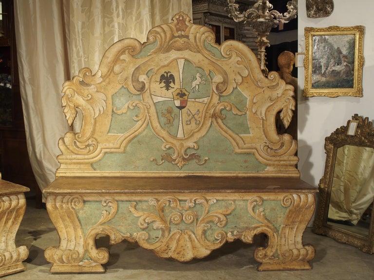 Pair of Italian Painted Armorial Cassapanca For Sale 1