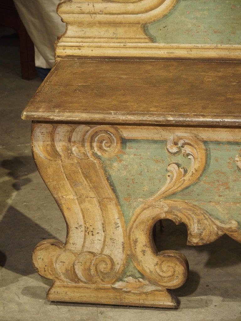 Pair of Italian Painted Armorial Cassapanca For Sale 4