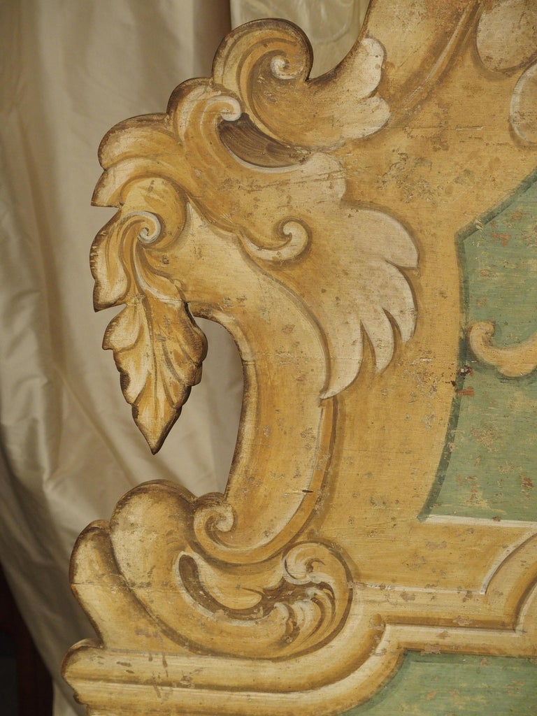Pair of Italian Painted Armorial Cassapanca For Sale 5