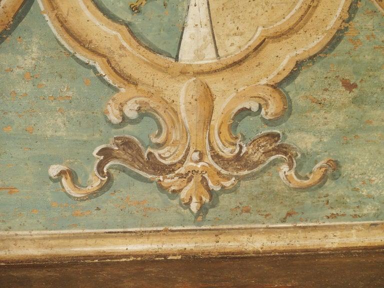 Pair of Italian Painted Armorial Cassapanca For Sale 6