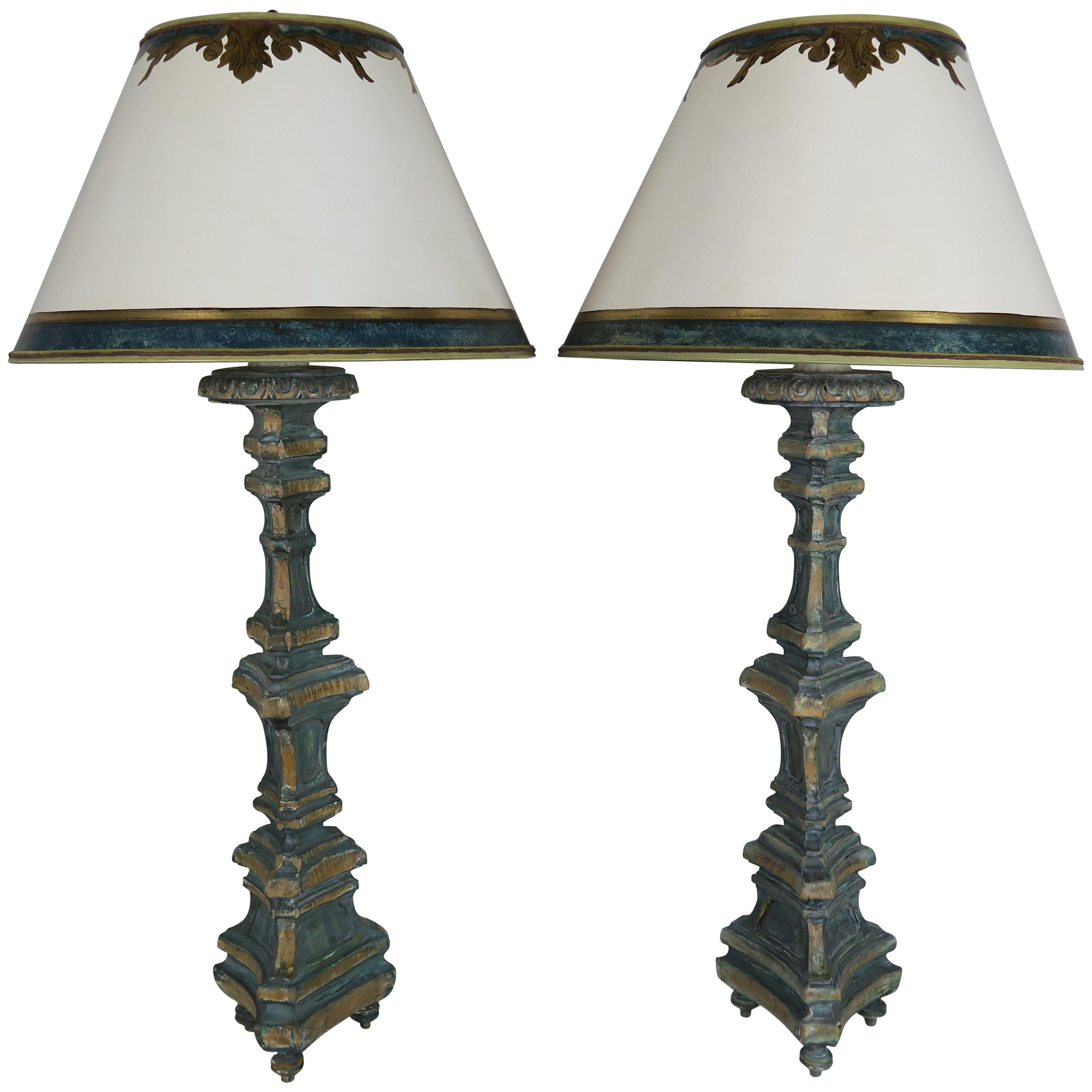 Pair of Italian Painted Candlestick Lamps with Parchment Shades