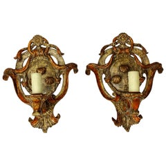 Pair of Italian Painted Carved Wood Sconces, 19th Century