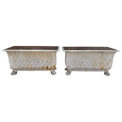 Pair of Italian Painted Cast Iron Planters