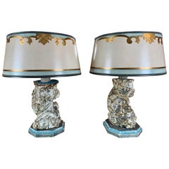 Pair of Italian Painted Column Lamps with Parchment Shades