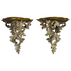 Pair of Italian Painted Creamy White with Gilt Accents Wall Brackets