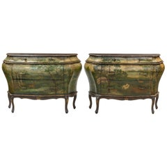 Pair of Italian Painted Faux Marble-Top Bombay Commodes or Nightstands
