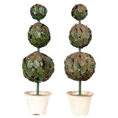 Pair of Italian Painted Midcentury Metal Topiary Sculptures Set in White Pots