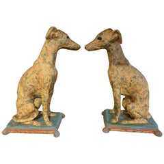 Pair of Italian Painted Terra Cotta Whippets