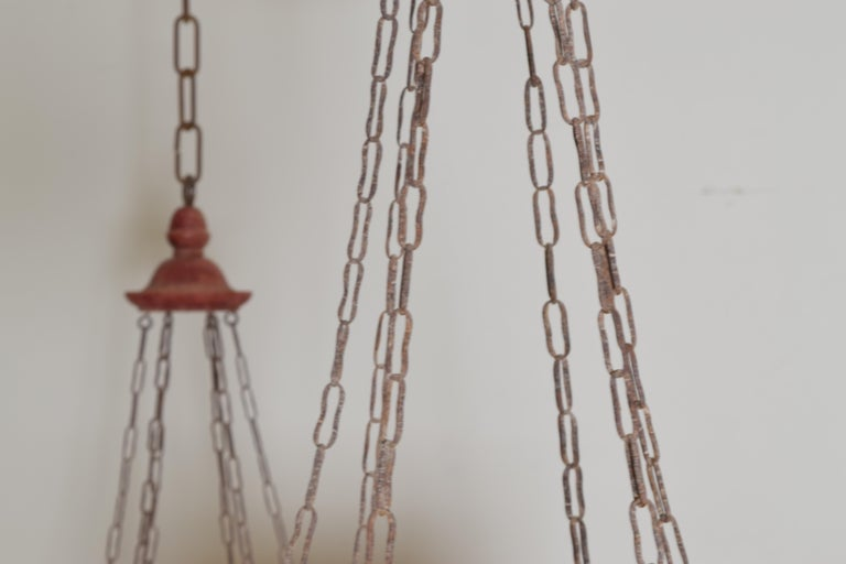 Pair of Italian Painted Tole Hexagonal 1-Light Lanterns, 19th Century For Sale 2