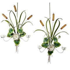 Pair of Italian Painted Tole Wall Sconces
