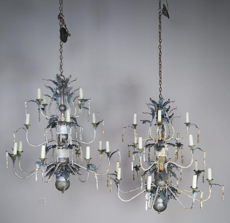 Pair of Italian Painted Wood and Metal Chandeliers, circa 1940 For Sale 7