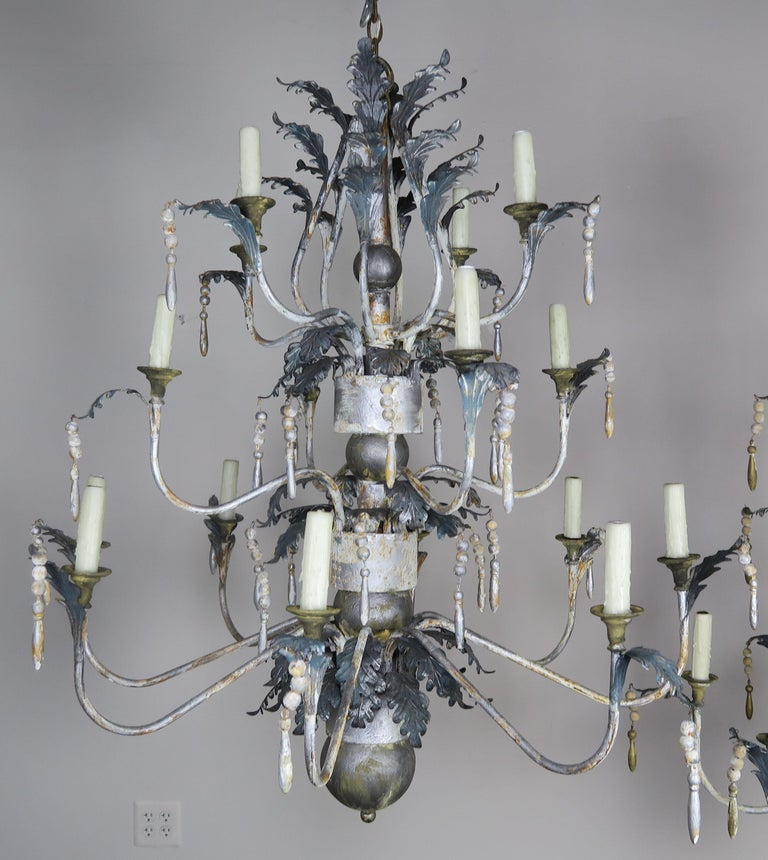 Rococo Pair of Italian Painted Wood and Metal Chandeliers, circa 1940 For Sale