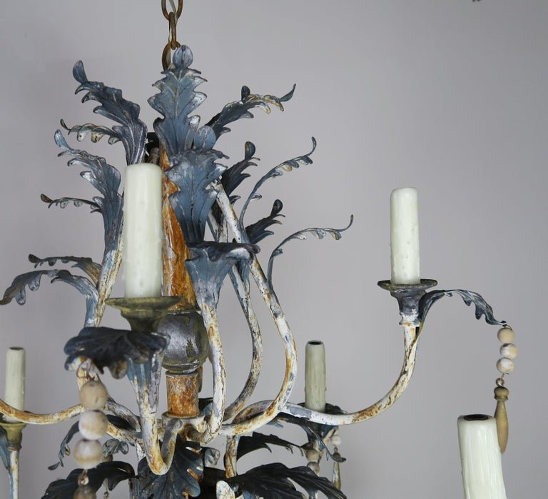 Hand-Painted Pair of Italian Painted Wood and Metal Chandeliers, circa 1940 For Sale