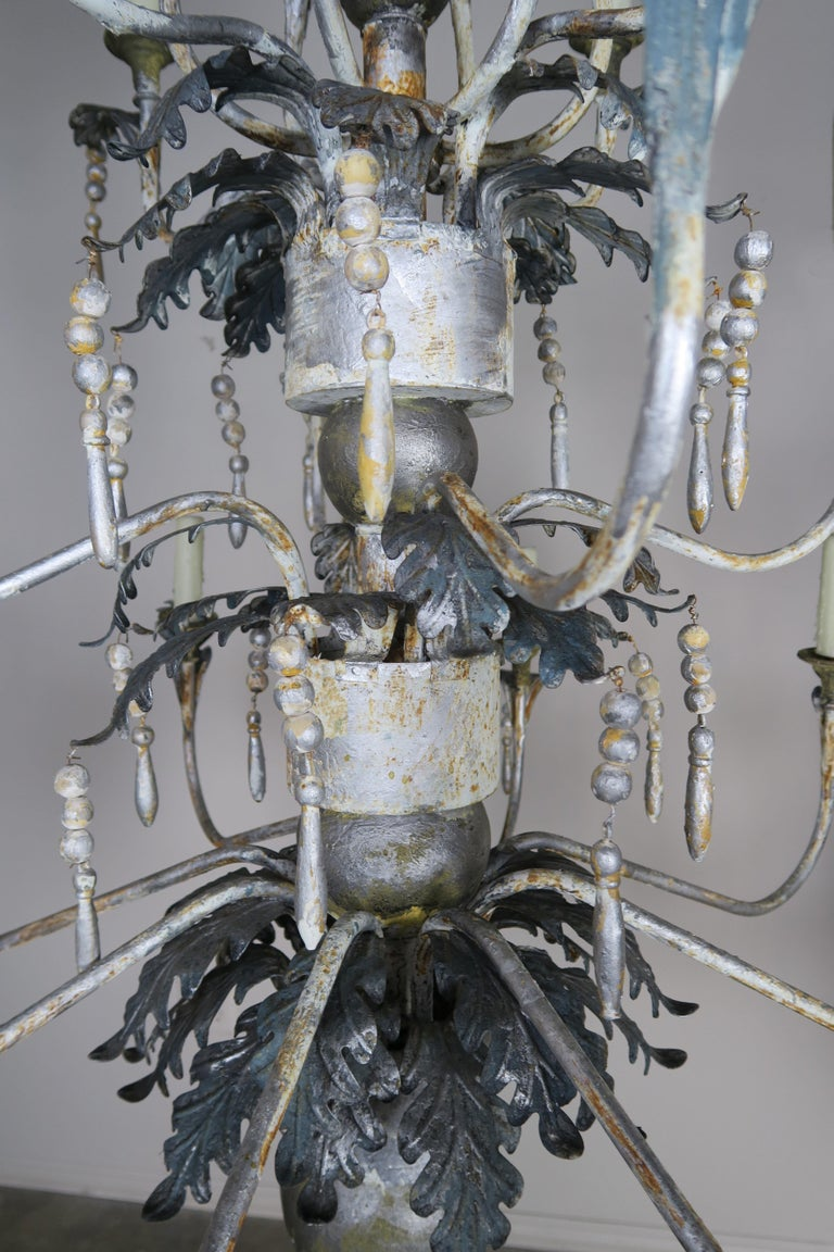 Pair of Italian Painted Wood and Metal Chandeliers, circa 1940 For Sale 1