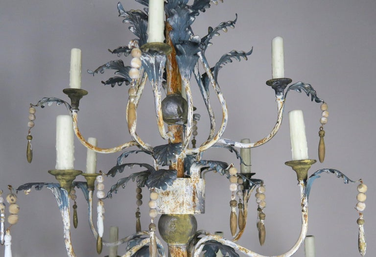 Pair of Italian Painted Wood and Metal Chandeliers, circa 1940 For Sale 3