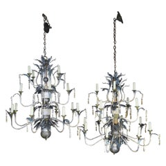 Pair of Italian Painted Wood and Metal Chandeliers, circa 1940