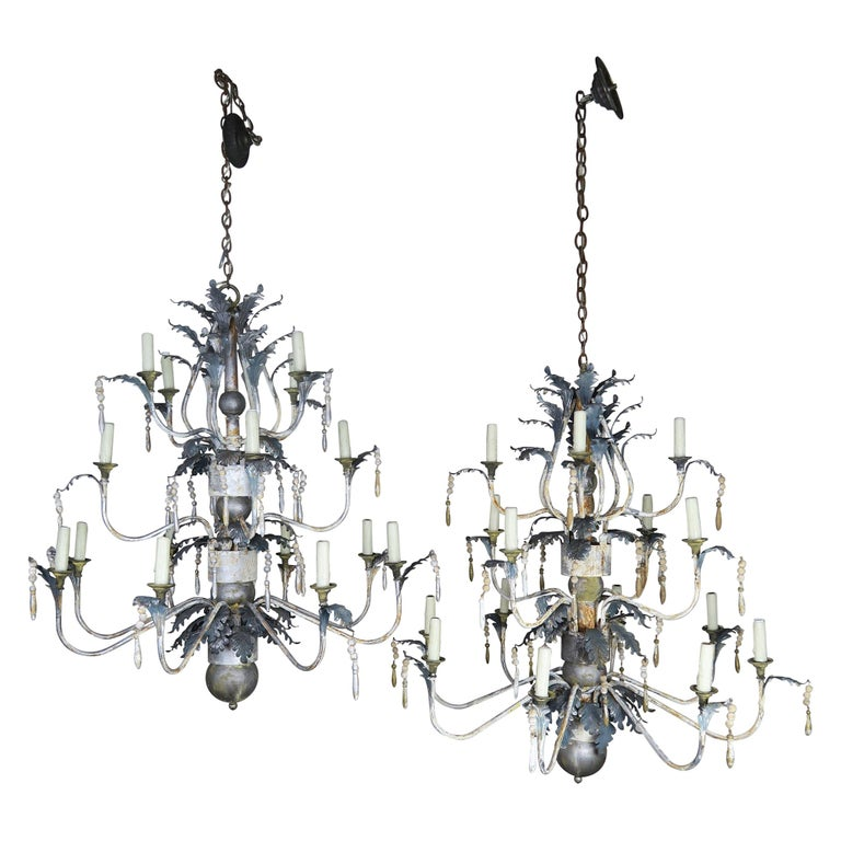 Pair of Italian Painted Wood and Metal Chandeliers, circa 1940 For Sale