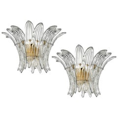 Pair of Italian Palmette Sconces Barovier & Toso Style, Murano