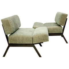 """Pair of Italian """"Panchetto"""" Reclining Chairs by IPE, New Green Upholstery"""