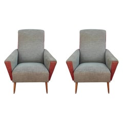 Pair of Italian Paola Buffa Style Modern or Postmodern Club Lounge Chairs COM