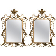 Pair of Italian Parcel-Gilt Painted Wood and Metal Wall or Console Mirrors