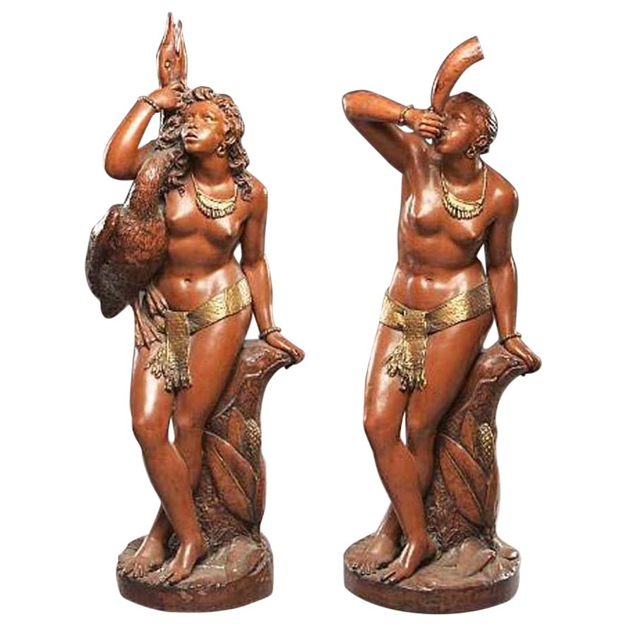 Pair of Italian Parcel Gilt Terracotta Nude Figures, 19th Century