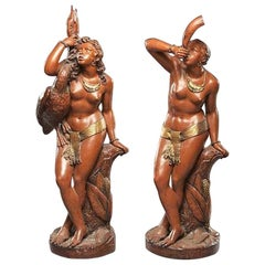 Pair of Italian Parcel Gilt Terracotta Nude Figures, 19th Century