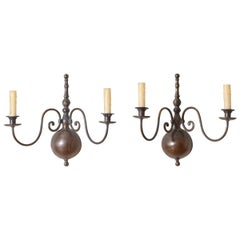 Pair of Italian Patinated Brass 2-Arm Sconces, Early 20th Century