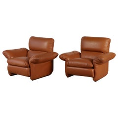 Pair of Italian Patinated Leather Lounge Chairs