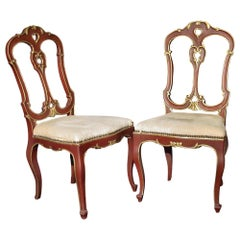 Pair of Italian Patinated Red and Gilt Childrens Chairs