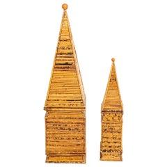 Pair of Italian Pencil Bamboo Obelisks