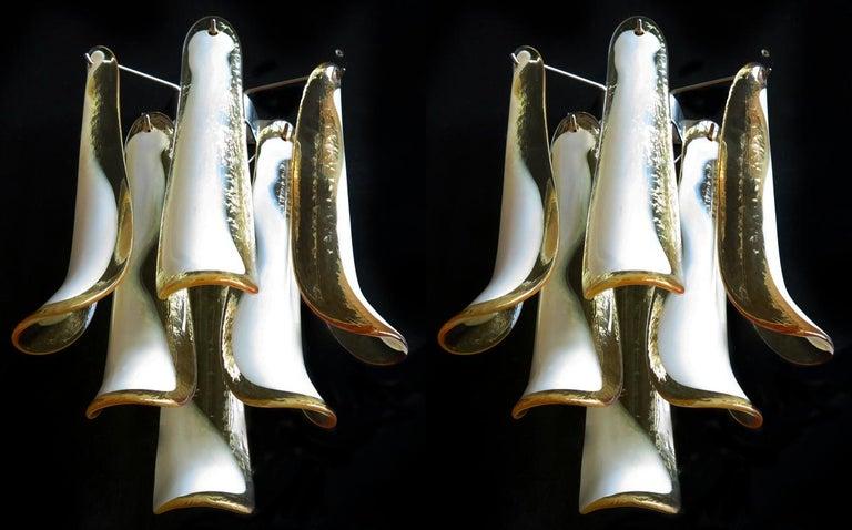 Metal Pair of Italian Petal Murano sconces, Mazzega Style