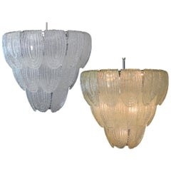 Pair of Italian Petals Chandeliers, Murano