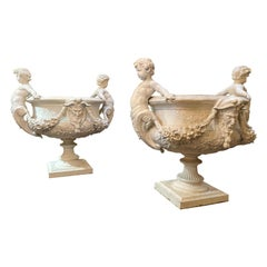 Pair of Italian Pewter Planters